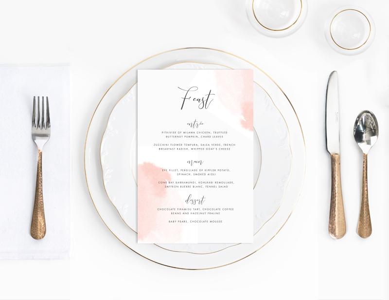 Peach watercolour wedding menu | Beautiful watercolour wedding menu | Something Peach | Melbourne wedding