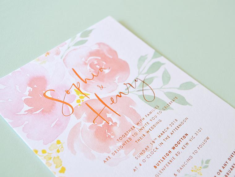 Floral watercolour wedding invitation | Bronze foil invitation | Calligraphy invitation | Something Peach
