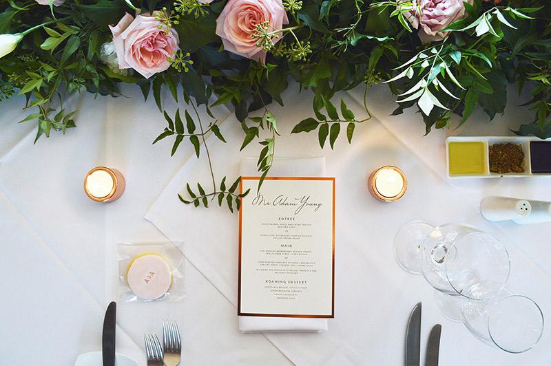 Copper foil menu | Copper wedding stationery | Modern wedding stationery | Something Peach | Melbourne wedding